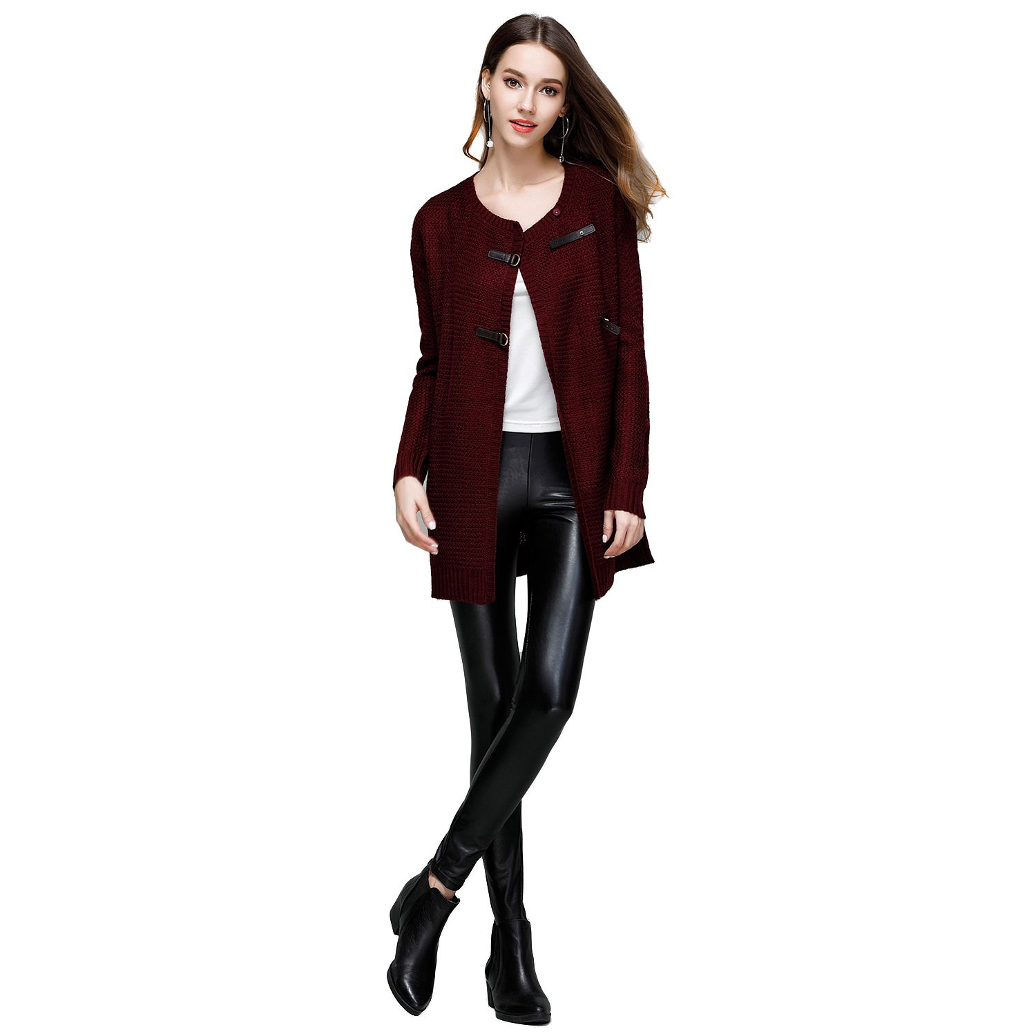 New Womens Elegant Spring Autumn New Fashion Knitwear Long Solid Color Button Cardigans O-Neck Long Sleeve Open Stitch Sweat ...