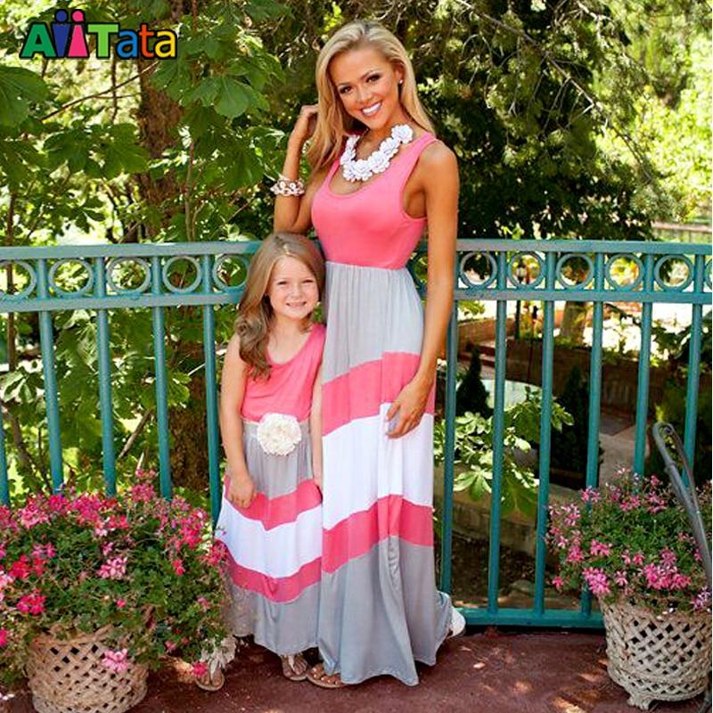MVUPP ibu pakaian wanita berjalur maxi gadis pakaian pantai patchwork - Pakaian kanak-kanak