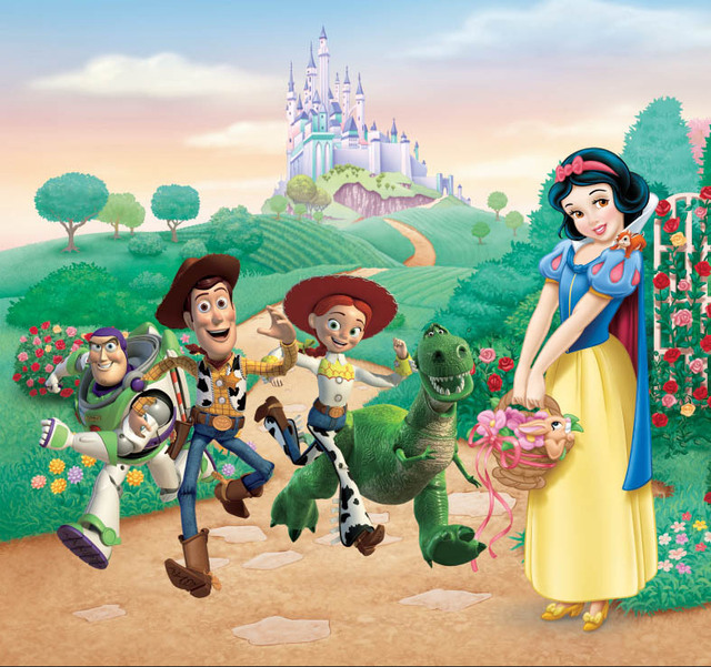 US $13 08 |7x5FT Green Hills Castle Tower Snow White Princess Toy Story  Woody Jessie Photo Backdrop Studio Background Vinyl 220cm x 150cm-in