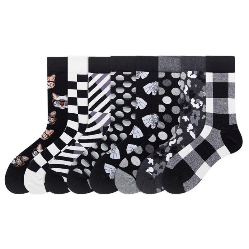 PEONFLY Harajuku Style Men Socks Dark Color Black White Plaid Dot Cat Pattern Happy Socks 2019 Hip Hop Combed Cotton Sokken