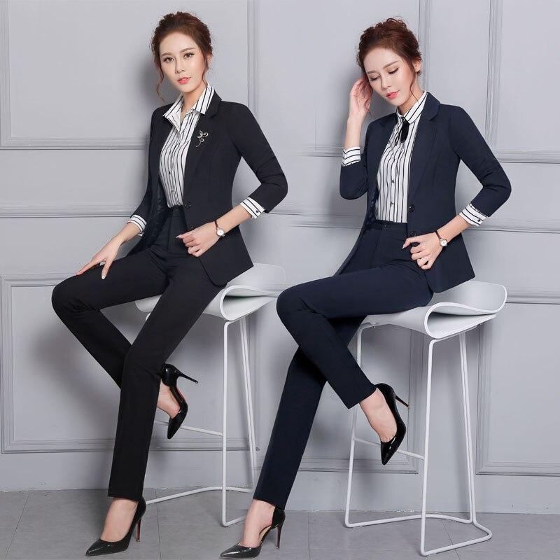 100% QualitäT Formale Hosenanzüge Für Damen Büro Herbst Winter Professionelle Arbeit Tragen Anzüge Mit Jacken Und Hosen Frauen Hosen Set S-3xl Gute QualitäT