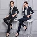 Terninhos formais Para Senhoras de Escritório Outono Inverno Desgaste do Trabalho Profissional Ternos Com Coletes E Calças Das Mulheres Calças Set S-3XL