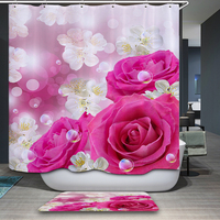 New Shower Curtain Arrivals American style Rural Flowers world Pattern Waterproof Bathroom Fabric Home Decorative Shower Curtain