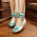 5 cm Heel Embroidery Pumps Simple Ethnic Canvas Embroidered Women's Wedge Heel Shoes  canvas Soft Pumps Single Shoes