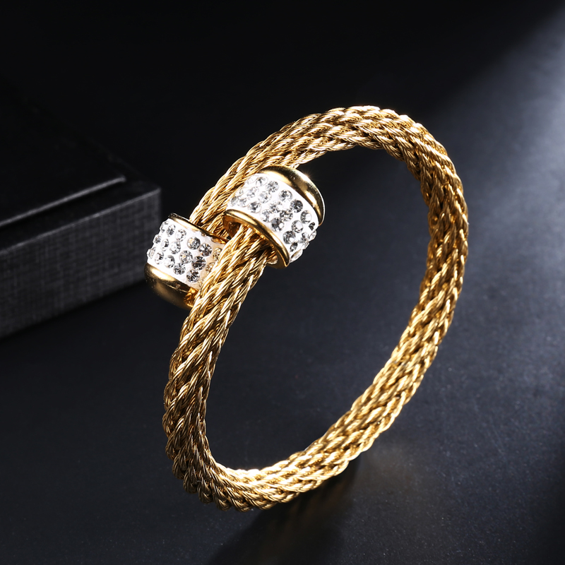Us 2 03 49 Off D Z Bracelets Braided Wire Bangle Zircon Stainless Steel Gold Color Cable Cuff Adjule Bangles For Women Jewelry Gift In