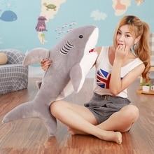 1pc 120cm-65cm Cute Shark Plush Toy Simulation Stuffed Animal of Shark Soft Toy Factory Supply Christmas gift on sale Plush doll стоимость