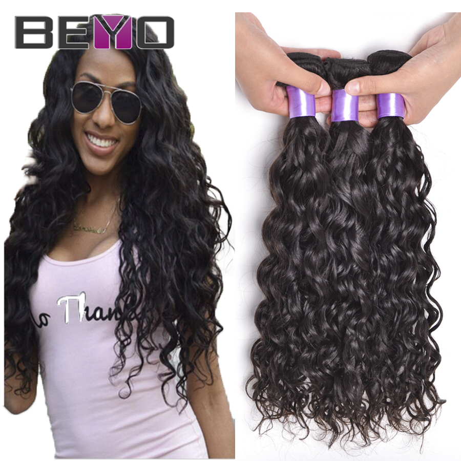 Brazilian Virgin Hair Water Wave 3 Bundles Wet And Wavy Brazilian Hair Weave Bundles Curly Human Hair Natural Hair Extensions
