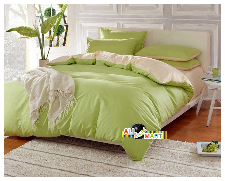 Holiday Free Shipping Light Green And Beige 4pcs Cotton Contrast Color Bedding Set Duvet Cover Comforter Bed Sheet