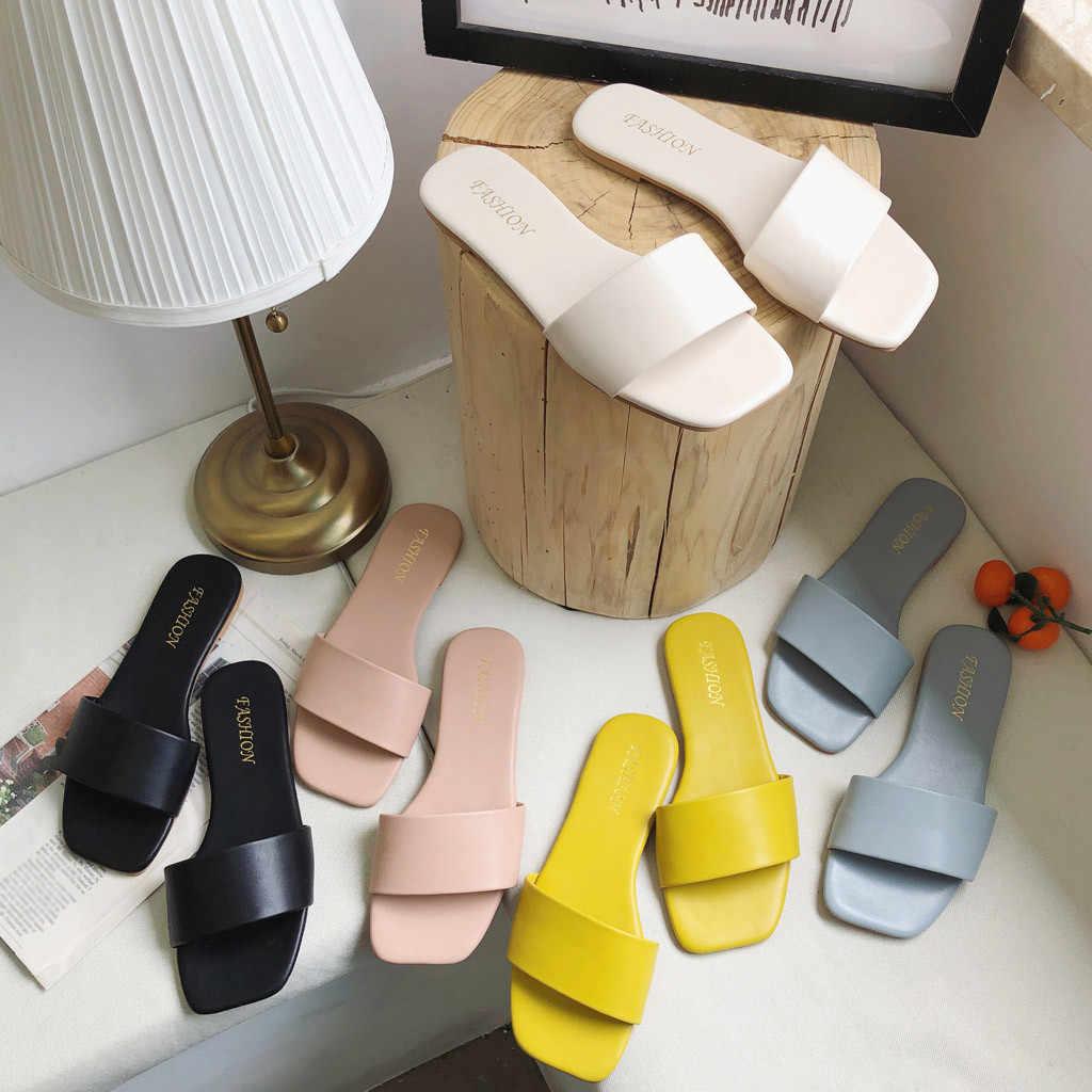 SAGACE kadın moda düz terlik kare kafa rahat vahşi büyük boy kadın ayakkabısı rahat büyük boy terlik yeni 2020