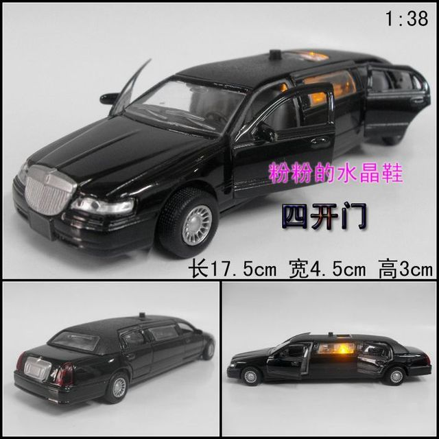 Good artificial car model toy car plain four door lengthen lincoln black