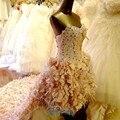 Vestido де novia мода передние вскоре после перетащить свадебное платье короткий передний долго назад хвост свадебное ретро цветные страусиных перьев