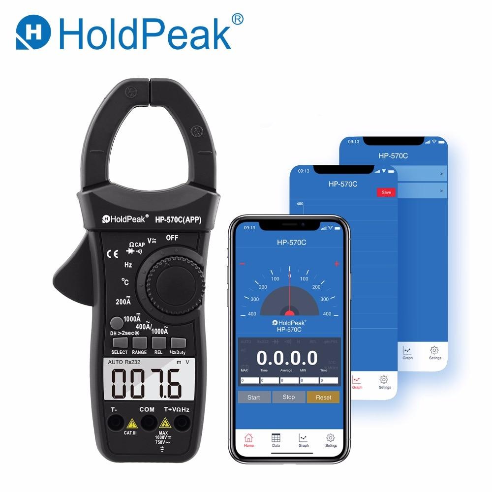 HoldPeak HP-570C-APP цифровой клещи 4000 отсчетов 1000A переменного тока Напряжение емкость мультиметр подключения к телефону тестер