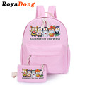 RoyaDong 2017 Brand Portfolio School Bags For Teenagers Girls Backpacks Set Canvas Cute Cartoon Printing Backpacks Book Bags