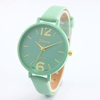 2016 Newest Fashion Woman Girl Watch Candy Color Faux Leather Analog Quartz Wrist Watch 10 Colors