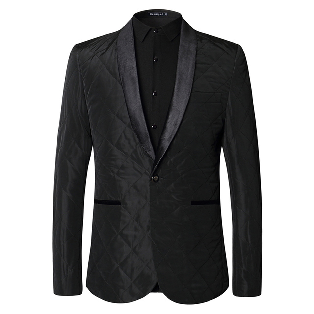 Plyesxale Casual Men Blazers 2018 Autumn Black Velvet Blazer Jacket Slim Fit Single Button Prom Stage Wear Brand Clothing Q39