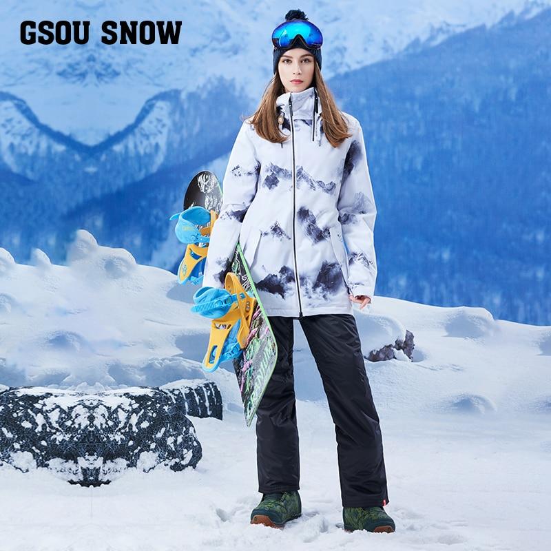 Gsou Снежный одноплатный водонепроницаемый ветрозащитный Теплый зимний длинный лыжный костюм женский костюм для взрослых бренд - 3