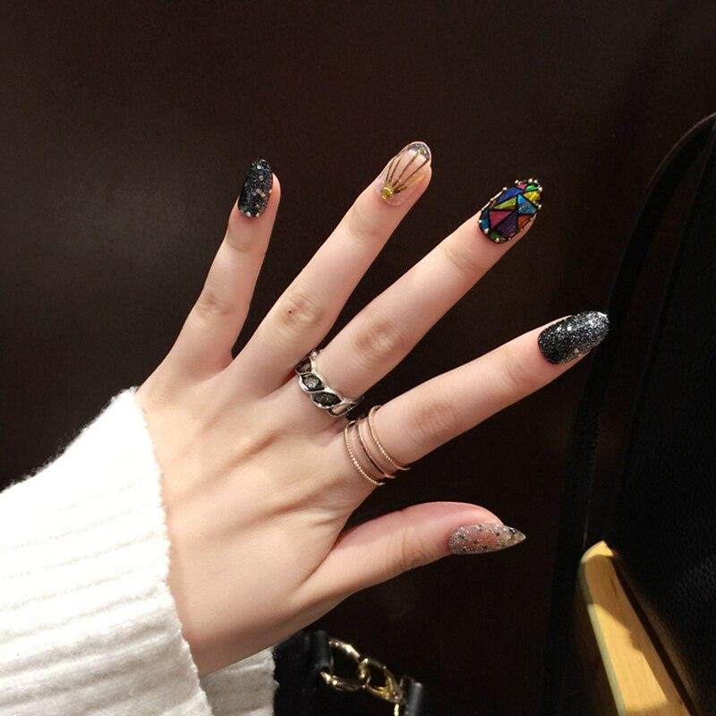 Dazzling Fake Nails Glitter Silver Black Oval Nails Colorful Broken ...