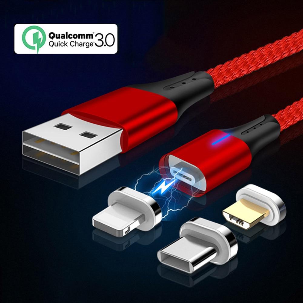 Schneidig Magnetische Kabel Micro Usb C Für Iphone Xr Redmi Note 7 Typ C Cable3a Schnelle Magnetic Charging 3 In 1 Usb Kabel Mit Led Beleuchtung Handy-zubehör