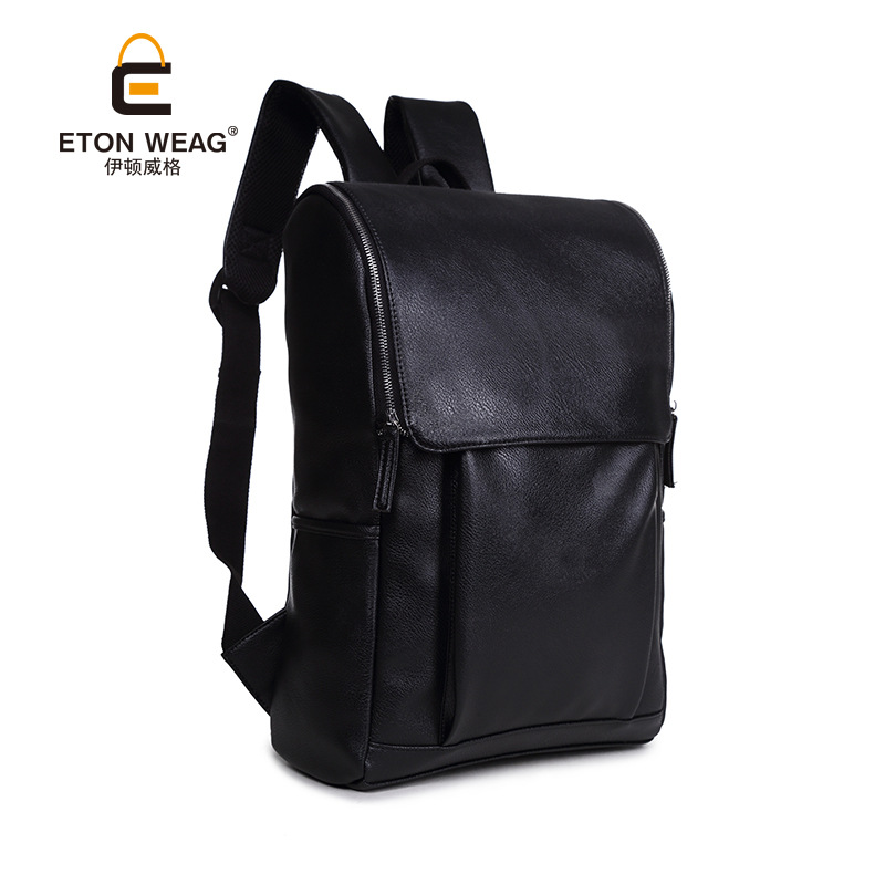 ETONWEAG Brands Cow Leather Schoolbag Backpack Women Black Zipper School Bags For Teenagers Vintage Laptop Bag Travel Luggage male bag vintage cow leather school bags for teenagers travel laptop bag casual shoulder bags men backpacksreal leather backpack
