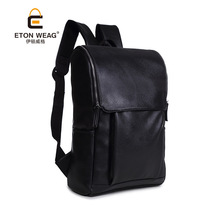 ETONWEAG New 2017 women famous brands Italian leather black zipper big capacity backpacks vintage fashion school bags laptop bag