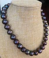 free shipping >>>>noble jewelry stunningAAA12 15mm Freshwater round black green red pearl necklace