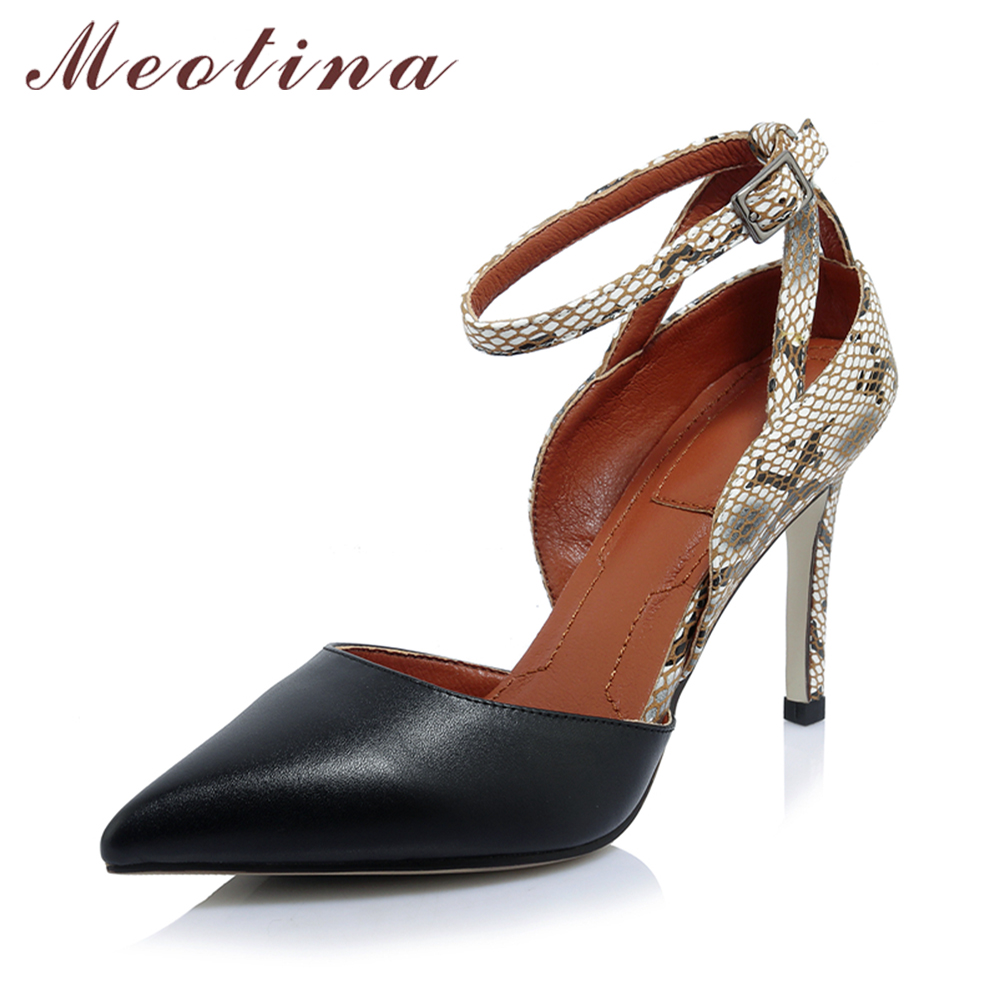 Meotina Genuine Leather High Heels Shoes Women Pumps Ankle Strap High Heels Leopard Pointed Toe Two Piece Grace Office Shoes wetkiss 2017 brand women pumps kid suede genuine leather summer pumps for women fashion pointed toe ankle strap high heels shoes