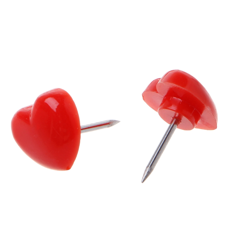 50 Pcs Heart Shape Thumb Tack Plastic High Quality Colored Push Pins Thumbtacks Office School Supplies 0.39x0.47 Inch
