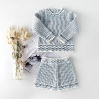Baby's Sets Baby Outfit Blue Orange Color Cute Infant Baby Knitwear Baby Girl Clothes