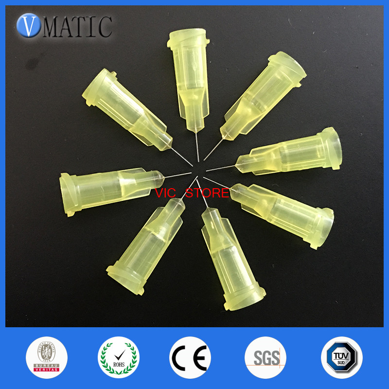 цены Quality Assurance 100pcs/lot 32G 1/4'' Stainless Steel Tip Dispensing Screw Needles Yellow Color Syringe Needle Tips