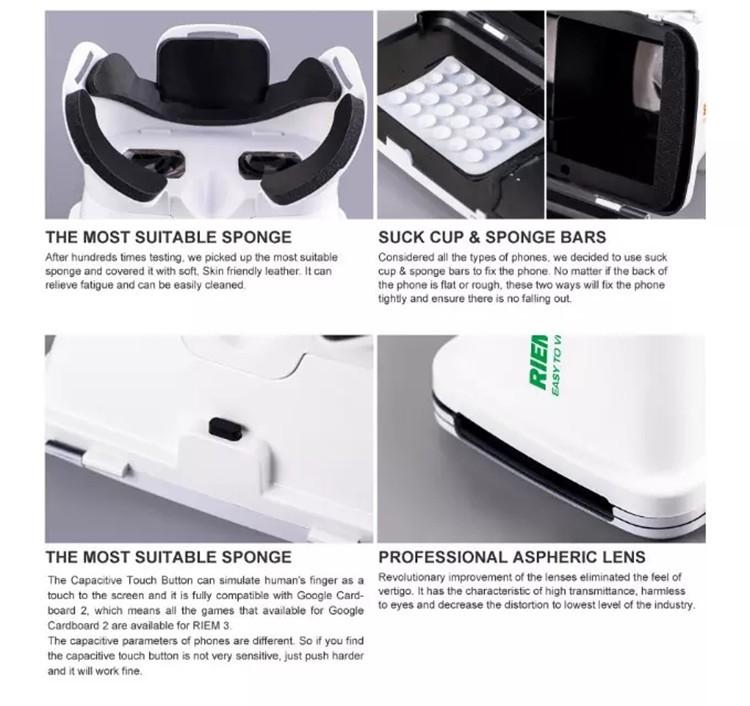 New Ritech III 3D VR Glasses RIEM3 Virtual Reality Head Mount Google Cardboard Oculus Rift DK2 Box for 4.7 ~ 6.0 Inch SmartPhone (20)