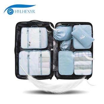 Hylhexyr 8PCS Oxford Waterproof Travel Clothing Bag Packing Cube Set Luggage Organizer Pouch With Shoe Bag And Laundry Bags - DISCOUNT ITEM  26% OFF All Category