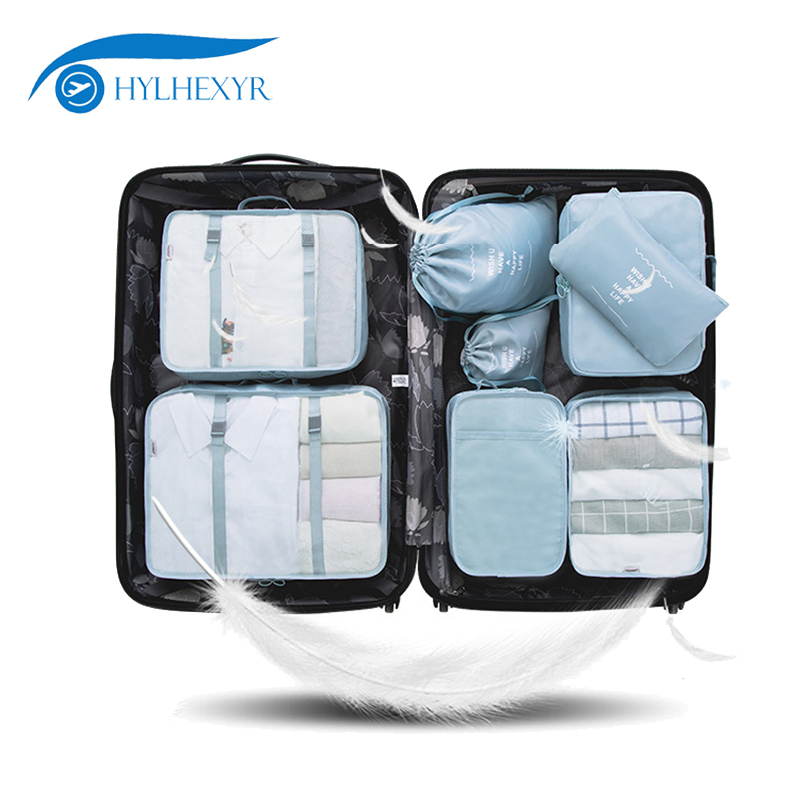Hylhexyr 8PCS Oxford Waterproof Travel Clothing Bag Packing Cube Set Luggage Organizer Pouch With Shoe Bag And Laundry Bags