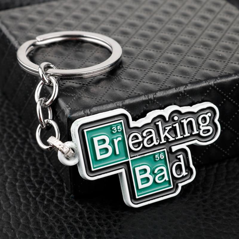 HEYu Jewelry TV Breaking Bad BA BR Keychain Chemucal Symbol Heisenberg Mask Walter Cosplay Pendant Keyring Key Chain