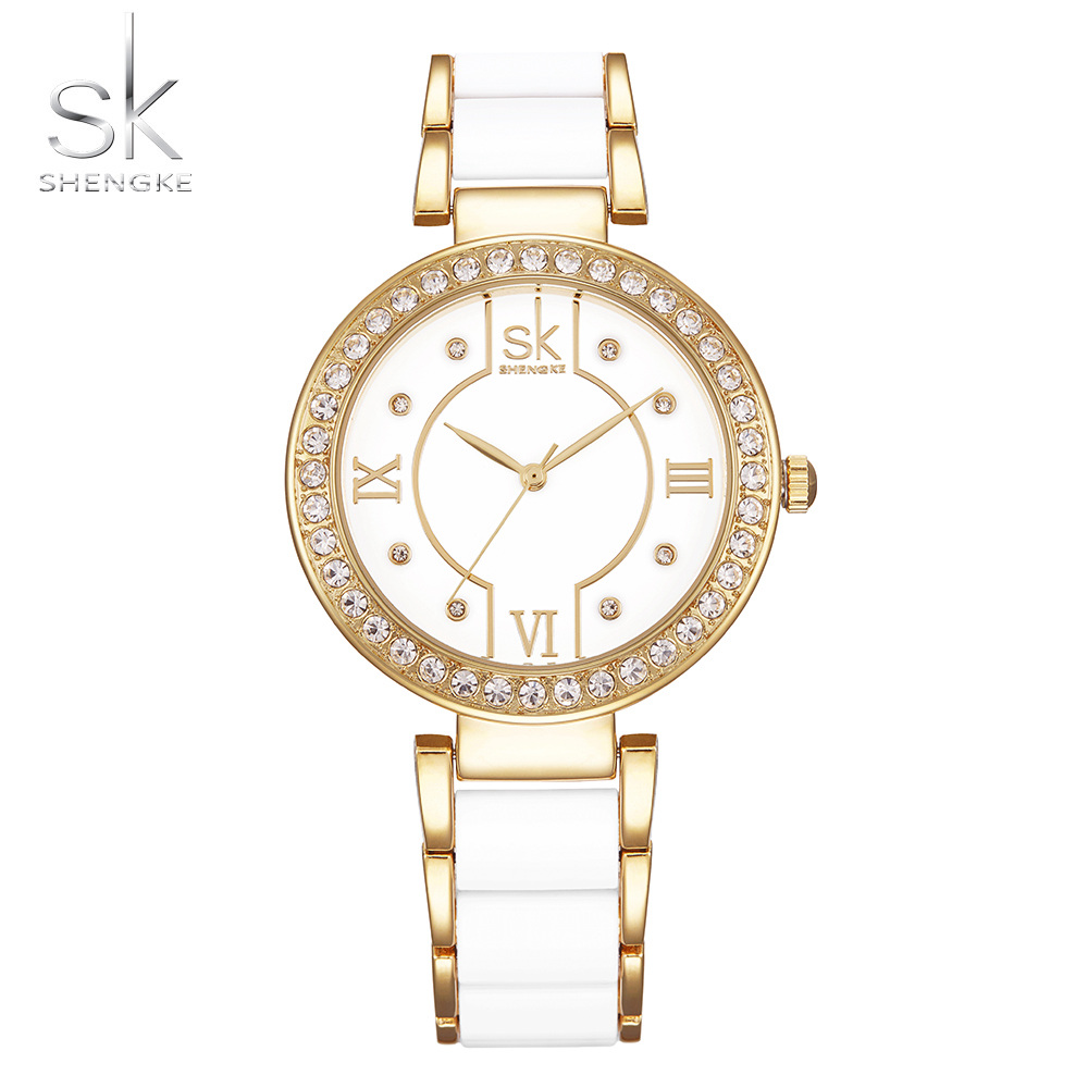 Shengke Brand luxury Women Bracelet Wristwatches Stainless Steel Quartz Clock Crystal Classical Watches Dial Montre Femme 2017 2017 silver bracelet watches clock women luxury brand crystal stainless steel dress wristwatches quartz watch bayan kol saati