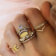 9Pcs/ Set Women Punk Moon Water Drop Crown V Shaped Crystal Geometric Irregular Midi Ring Exquisite Shiny Gold Color Jewelry