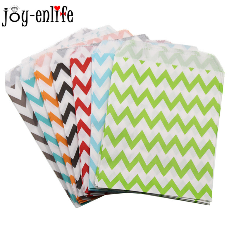 JOY-ENLIFE 25pcs Food Grease Proof Paper Bag Wavy Lines Stripes Bag Popcorn Snacks Candy Bag Baby Shower Wedding Party Supplies
