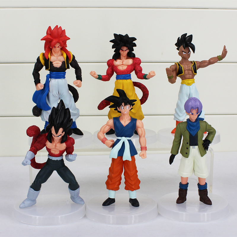 6pcs/set Cartoon Dragon Ball Z PVC Action Figures Toys Dragonball Z Sun Goku Trunks Vegeta Ubu Figure Collection Model Toy shfiguarts dragon ball z vegeta pvc action figure collectible model toy 6 5 16cm