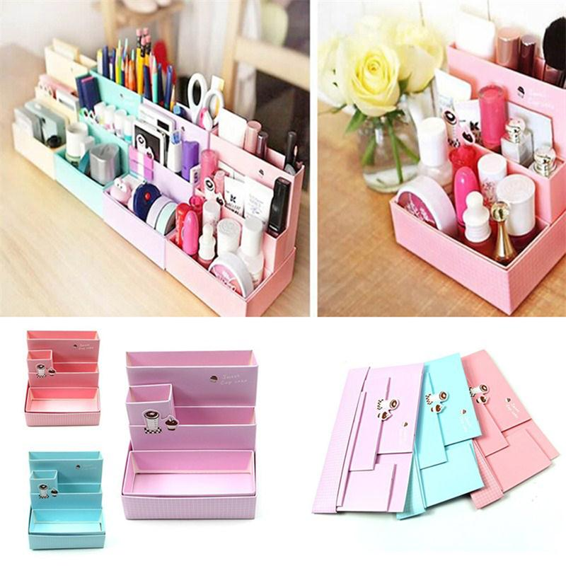 Diy Paper Board Storage Box Desk Decor Stationery Makeup Cosmetic Organizer New Pen Holders School Office Supplies In Holder From