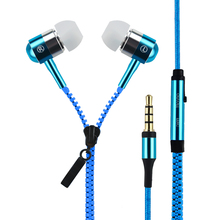 New 3.5mm In-Ear Metal Bass Zipper Earphones Sports Music Wired Earbud Headset With Microphone For iphone Samsung Xiaomi Huawei