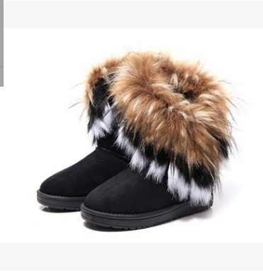 SLYXSH Kadın Kar Botları Artı Boyutu Taklit Kürk Kış yarım çizmeler Dikiş Flats Kadın Konfor Ayakkabı platform ayakkabılar