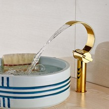 Creative Waterfall C Shape Spout Bathroom Basin Hot and Cold Water Faucet Dual Handle Countertop Mixer