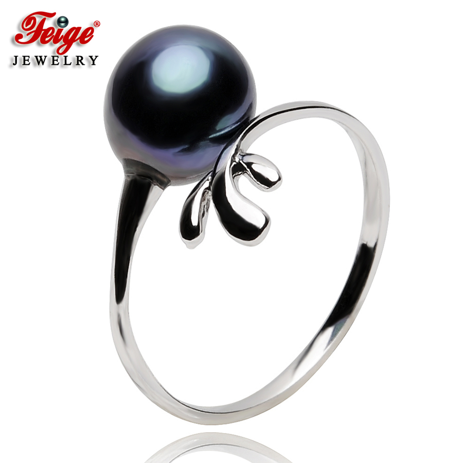 Vintage 925 Sterling Silver Black Pearl Ring For Ladies Party Jewelry Gifts 8-9MM Rice Freshwater Pearl Rings Wholesale FEIGE