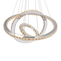 LED Crystal Ring Chandelier Diamond Ring Crystal Light Fixture Light Suspension Lumiere Modern LED Lighting Circles