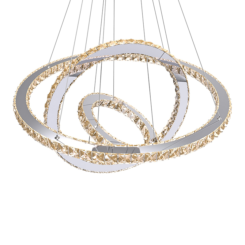 LED Crystal Ring Chandelier <font><b>Diamond</b></font> Ring Crystal Light Fixture Light Suspension Lumiere Modern LED Lighting Circles Lamp