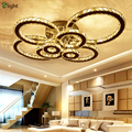 Moderne Luxus Glanz Cristal Led Kronleuchter Beleuchtung Wohnzimmer Kreis Ring Luminaria Dimmbare Decke Kronleuchter Lamparas-in Kronleuchter aus Licht & Beleuchtung bei