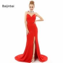 Baijinbai Vestidos Fiesta 2017 Vestidos De Formatura Rojo de Lujo O-cuello de Barrido Tren Largo de La Sirena Especial Back Mujeres Vestido de Noche