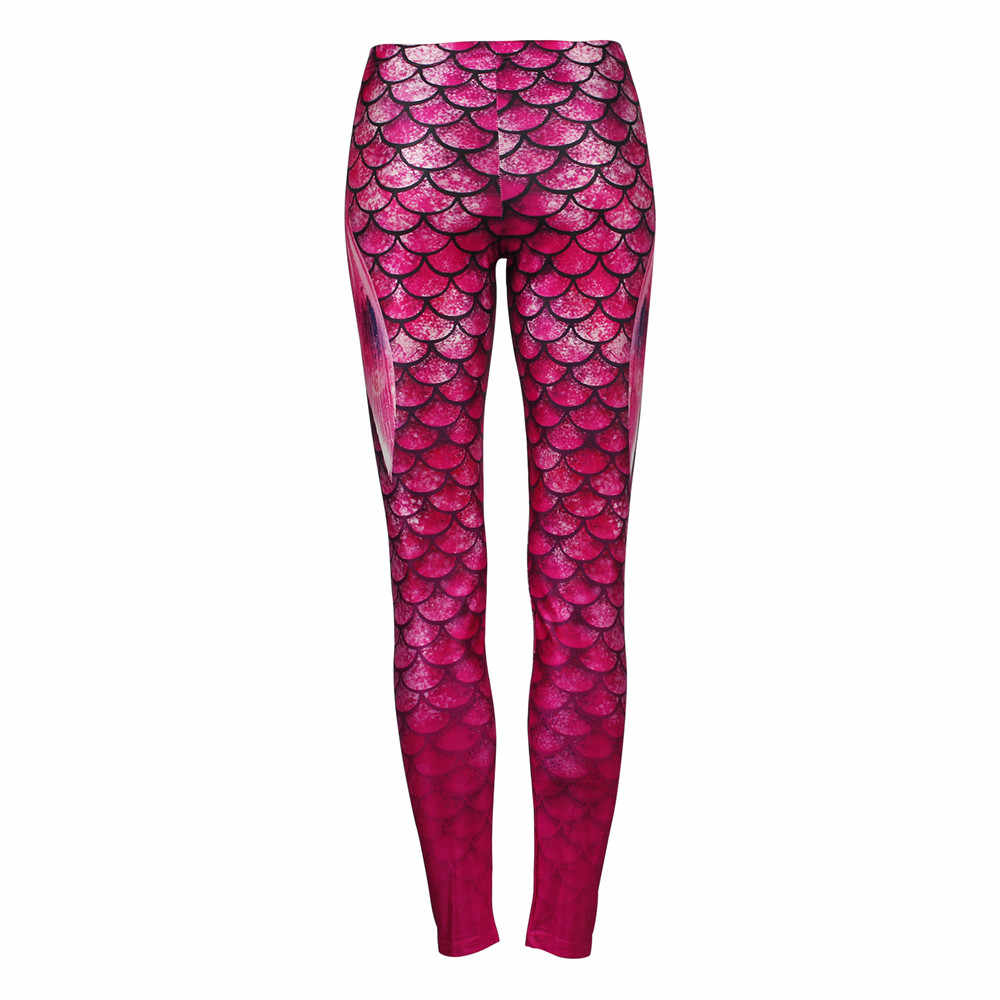 b2590d77c52 ... 2019 Women s Ombre Pink and Purple Shiny Mermaid Wings Leggings 2019  Fish Scale Tail Fins Printed
