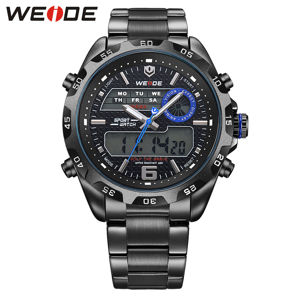 ФОТО Luxury Brand WEIDE Watch Men Fashion Male Quartz Business Watches Sports Degital Military Stainless Steel Relogio Masculino