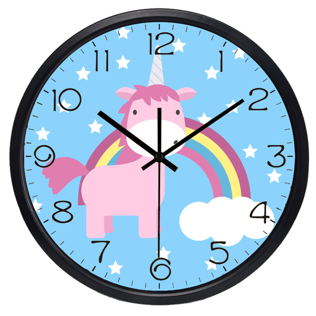 Creative Small Flying Horse Cartoon Children Baby Room Bedroom Silent Wall  Clock