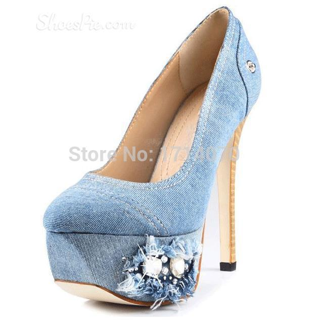 2017 newest Hot Fashionable light blue Denim design bling bling Rhinestone and Beads Decorated sky-high Platform Heels blue sky чаша северный олень